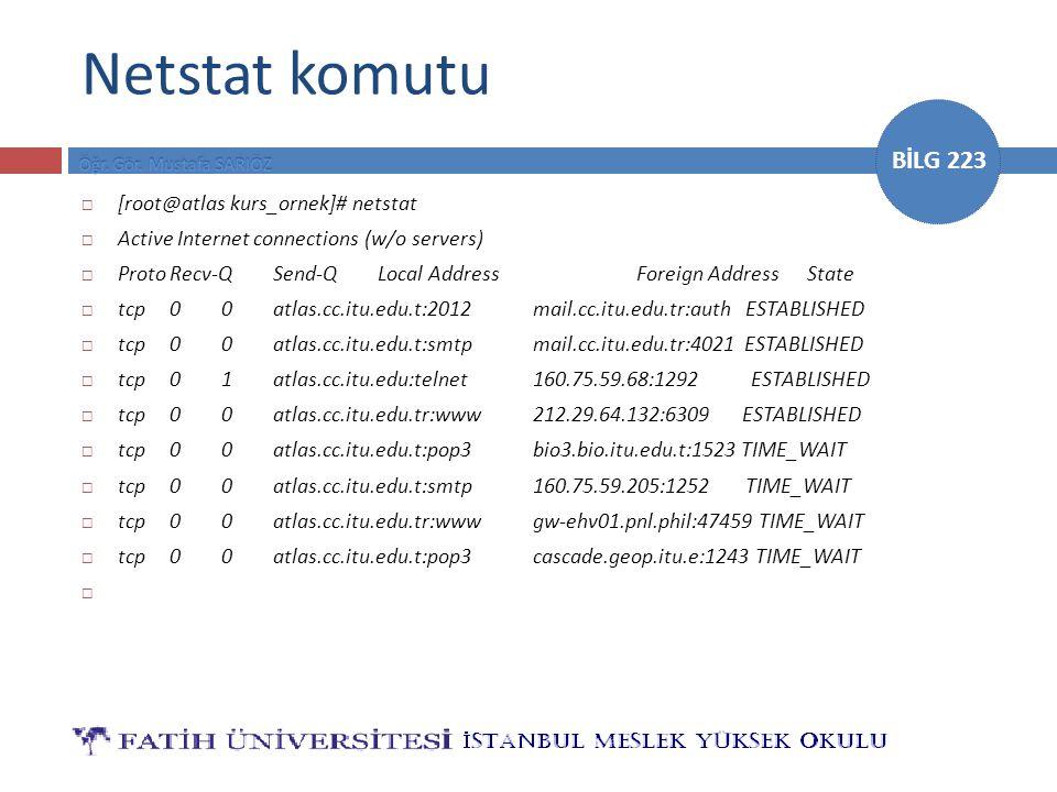 Netstat komutu [root@atlas kurs_ornek]# netstat